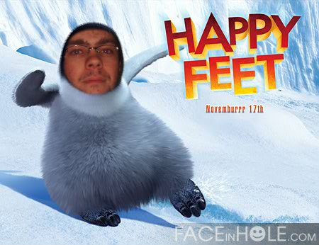 Maurício como HAPPY FEET.